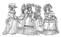 Galerie de coloriages gratuits coloriage-adulte-mode-vetements-18e-siecle. Dessin représentant des femmes du 18e siècle : une bonne représentation du style vestimentaire de l'époque