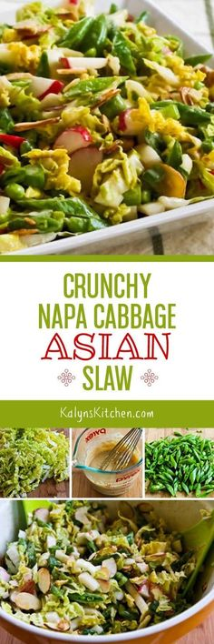 This Crunchy Napa Cabbage Asian Slaw is one of my favorite Salads to make for parties any time of year, and I've served this salad over and over, always with rave reviews. And if you use approved ingredients this tasty salad is low-carb and gluten-free! [from KalynsKitchen.com] found on KalynsKitchen.com