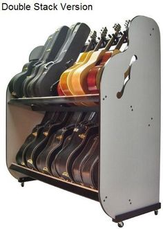 This is the side view of the Double Stack Guitar Storage Unit available at http://www.bandstorage.com.