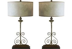 19th-C. Architectural Lamps wrought iron fence pieces topped with stone finials