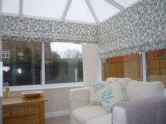 Roman Blinds to a Conservatory - cool in the summer, warm in the winter Cornwall House, Conservatory Decor, Warm In The Winter, Conservatories, Roman Blinds, Sunroom, Valance Curtains, Snug, Family Room
