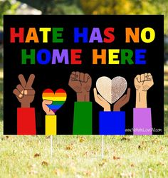 Hate Has No Home Here Colorful Yard Sign with Stake - Thumbprint #BLM 18X24 inch Hate Has No Home Here Colorful Yard Sign. 4mm corrugated plastic with yard stake included Printed in the USA A Portion of Proceeds Benefit the Black Lives Matter Campaign Wood Wall Decor, Wooden Decor, Pencil Drawing Images, Corrugated Plastic, 3d Wall Art, Decorating Coffee Tables, Rustic Farmhouse Decor, New Artists, Balloon Decorations