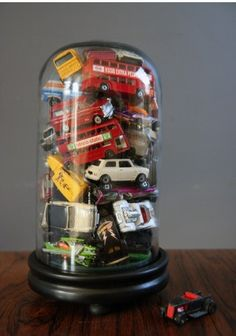 idea for boy's room - SUPERHERO figures instead of cars
