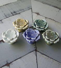 Porcelain Flower Knob Pair