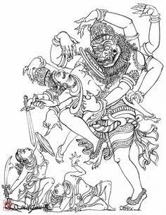 Ugra Narasimha tearing Hiranyakashipu's Stomach