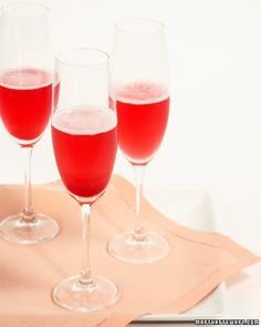Red Currant Champagne Cocktail ~ 2 tablespoons Red Currant Puree, chilled                                                  Champagne, chilled