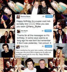 Harry's family birthday tweets.