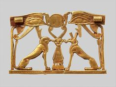 "Pectoral with an Opposing Seth Animal and Hieracosphinx (ca. 1981-1802 B.C.). Middle Kingdom, Egypt. Gold. The Metropolitan Museum of Art, New York. Lender Johns Hopkins University Archaeological Museum for Eton College, Windsor, England.  | This work is featured in our ""Ancient Egypt Transformed: The Middle Kingdom"" exhibition on view through January 24, 2016. #MiddleKingdomEgypt"