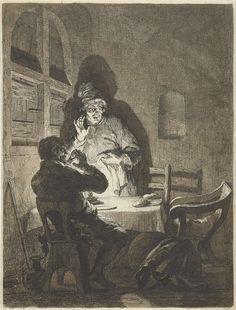 Arnold Houbraken   Maaltijd in Emmaüs, Arnold Houbraken, Rembrandt Harmensz. van Rijn, 1670 - 1719   De twee discipelen uit het verhaal van de Emmaüsgangers in een interieur, beschenen door kaarslicht, aan een tafel waarop een een stuk brood. Zij kijken verschrikt naar een derde lege stoel, waaruit zojuist Christus plotsklaps is verdwenen nadat Hij voor hen het brood had gebroken. Na deze handeling hadden de discipelen de hen tot dan toe nog onbekende reisgenoot als Christus herkend en…