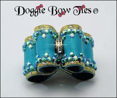 Dog Bows~Crystal Full Size Show Dog Bow 'Tornado Blue' with matching Swarovski Crystal edges.