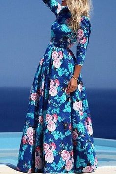 Boho Inspired Floral Elbow Sleeve Maxi Dress features sweet floral print. Long-length cut make you look even taller and add more grace elements. Details: - Floral print - Crew neckline - Elbow sleeves