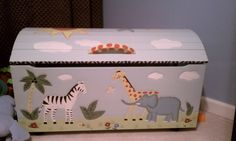 hand painted toy chest by Kacy