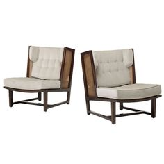 Wing Lounge Chairs, Model 6016 Pair by Edward Wormley for Dunbar | From a unique collection of antique and modern lounge chairs at http://www.1stdibs.com/furniture/seating/lounge-chairs/