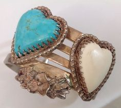 BILL KIRKHAM ORIGINAL HAND MADE LARGE STERLING SILVER TURQUOISE  CUFF BRACELET #Handmade