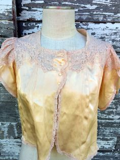 Antique 1930's Sleepwear peach Satin Silk Top French Style Lace Shell Buttons by Holliezhobbiez on Etsy