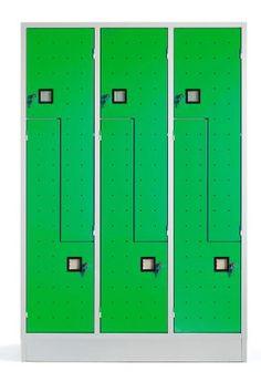 """Armadi Spogliatoio Multipli Colorati Sovrapposto a 6 Ante a """"Z"""" in lamiera di acciaio di alta qualità. Serratura a cilindro inclusa - N.3 colonne - N.6 Vani - Armadietto mm 1200x500x1800 - Metri cubi 1,08 - Vano (LxPxH) 418/210x480x1140 mm. Capacità Litri Kg.65. Verde Brillante Ral 6018. Colori Assortiti di Design. Made in Italy. Qualità superiore. Adatto per qualsiasi locale, Uffici Open Space Coworking - Piscine - Beauty Center - Spa. Accattivante anche per Living /Home. Whatsapp… Open Space, Lockers, Locker Storage, Cabinet, Furniture, Home Decor, Full Figured, Clothes Stand, Closet"""