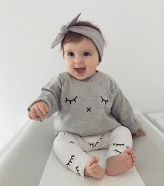 2017 Ins New Baby Girl Boy Two Piece Sets Eyelash Print Long Sleeve T-shirts+Pants Cotton Outfits Children Clothing 0-2Y 91309