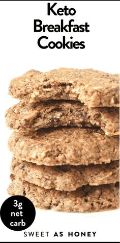 Keto Breakfast Cookies taste like oatmeal cookies without the oats ! only 4 g net carbs, full of almonds, pecan, coconut, flaxseed for an egg-free breakfast gluten free paleo