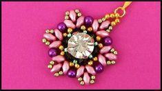 DIY   Perlen Blumen Ketten Anhänger   Beaded flower pendant with rhinest...