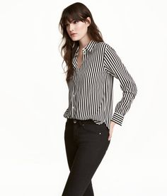Check this out! Blouse in woven fabric with a collar, buttons at front, and long sleeves with buttons at cuffs. - Visit hm.com to see more.