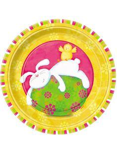 Piatti di cartone decorati con coniglio pasquale su VegaooParty, negozio di articoli per feste. Scopri il maggior catalogo di addobbi e decorazioni per feste del web,  sempre al miglior prezzo!