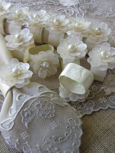 Wedding Brunch Napkin Ring Set of 12 Vintage Ivory Shell Table Top Holiday Decor. $36.00, via Etsy.