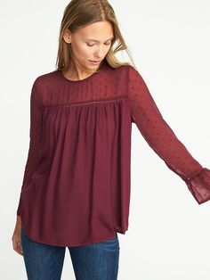Relaxed Crepe Blouse for Women