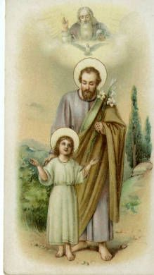 Child Jesus and Saint Joseph holy card :: Holy Cards Collection at the University of Dayton Catholic Religion, Catholic Saints, Roman Catholic, Christian Images, Christian Art, Religious Pictures, Religious Art, Jesus Drawings, Saint Jean Baptiste