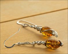 Amber Spiral Earrings with Sterling Silver
