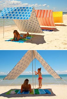 Adjustable beach umbrella.  Can make out of PVC and slip-knotted rope. (Make a carrying bag, too)  Can be adjusted as the sun moves for maximum sun blockage.  Found on a website that wasn't in English but it looks pretty straight-forward to make