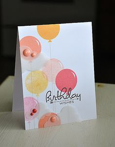 Papertrey Ink Birthday Style stamp set; Inks - HA Pale Tomato, Soft Cantaloupe, Butterbar; vellum clouds; birthday