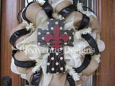 Polka Dot Fleur De Lis Cross Mesh Wreath LAST ONE by lesleepesak, $67.00