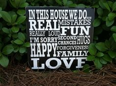 IN THIS HOUSE...small wood block sign