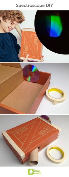 Study the science behind rainbows with a do-it-yourself spectroscope! You can see all the colors that make up white light from the sun, and the unique color patterns in light from light bulbs and other sources.