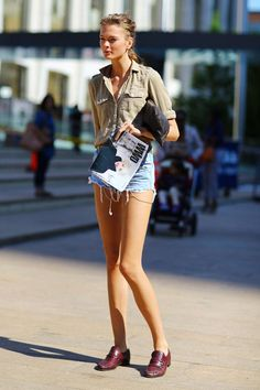 cargo shirt + shorts+loafers