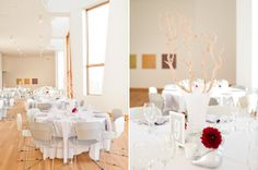 all white linens with pops of crimson