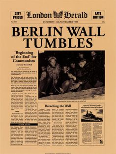 "1989 - Fall of the Berlin Wall= a local discount store sold 'pieces of the Berlin wall."" I wondered at the time if they really were. I sort of wish now that I had bought one, but they were just chunks of cement."