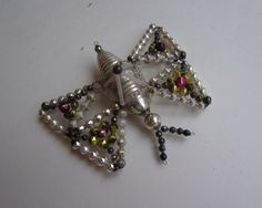 Antique Czechoslovakia 1920s Glass Beaded Butterfly Christmas Ornament