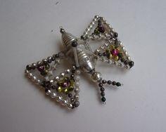Antique Czechoslovakia 1920s Glass Beaded Butterfly Christmas Ornament
