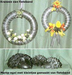 Creaties met oude fietsbanden