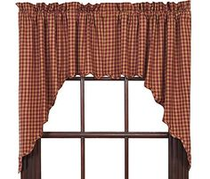 New Primitive Country BURGUNDY TAN Check Scalloped Curtain Window Swag #Cambridge #Country