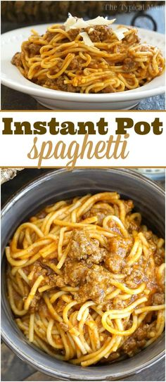 One pot Instant Pot spaghetti is one of our favorite meals and done in just 15 minutes including prep time! Great pressure cooker pasta recipe! via @thetypicalmom