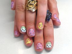 Spring Nail Art | cats & flowers