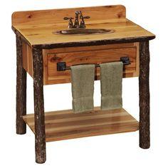 Fireside Lodge Hickory Open Vanity Base Only Base Finish: Cinnamon - Towel Bar Lodge Furniture, Hickory Furniture, Wood Furniture, Mission Furniture, Bathroom Furniture, Furniture Ideas, Bathroom Ideas, Open Shelving, Shelves