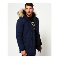 Superdry Faux Fur Trimmed Everest Jacket (2.308.525 IDR) ❤ liked on Polyvore featuring men's fashion, men's clothing, men's outerwear, men's jackets, navy, superdry mens jackets, mens navy blue jacket, men's navy parka, mens navy jacket and mens hooded parka