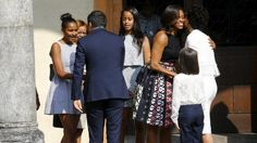 "U.S. first lady Michelle Obama (2nd R) and her daughters Sasha (L) and Malia (C) are welcomed by Italy's Prime Minister Matteo Renzi and his wife Agnese (R) as they arrive to visit Leonardo da Vinci's ""The Last Supper"" painting in Milan, Italy June 17, 2015"