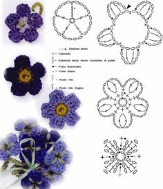 Discover thousands of images about Crochet Flower - Chart Crochet Flower Tutorial, Crochet Diy, Crochet Flower Patterns, Thread Crochet, Irish Crochet, Crochet Designs, Crochet Leaves, Knitted Flowers, Fabric Flowers