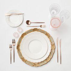Florentine Sage & Gold Charger + The White Collection China + Rose Gold Flatware + Cut Crystal/Pink Goblet trios + Pink Salt Cellars | Casa de Perrin Design Presentation