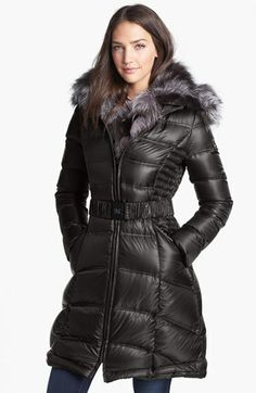 Dawn Levy Genuine Fox Fur Trim Belted Down Coat available at #Nordstrom