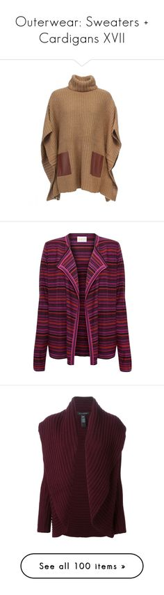 """""""Outerwear: Sweaters + Cardigans XVII"""" by jay-to-the-kay ❤ liked on Polyvore featuring cardigans, sweaters, outerwear, tops, coats, jackets, ponchos, brown poncho, leather poncho and camel poncho"""